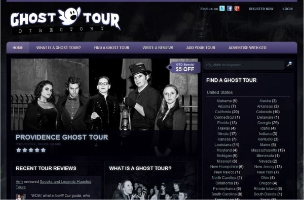 Ghost Tour Directory Screenshot